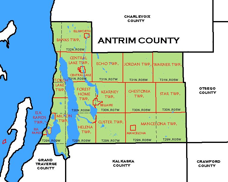 Cf Map Antrim County: Map Of Antrim County Michigan At Slyspyder.com