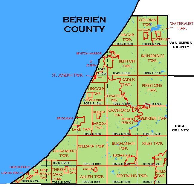 CF Map Berrien County - Michigan map by county