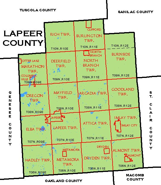CF Map Lapeer County - County map of michigan with cities