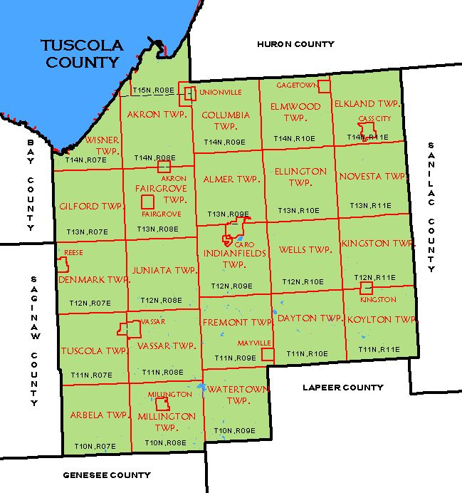 CF Map Tuscola County - Michigan county map