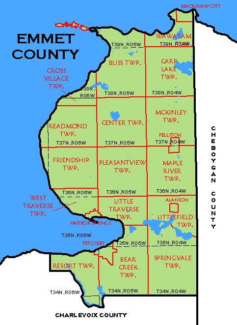 Emmetjpg - Michigan county map
