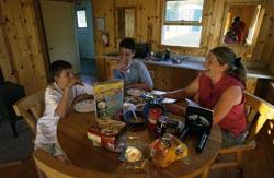 family in cabin