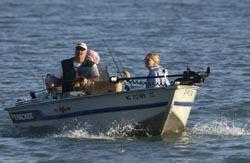 family in boat