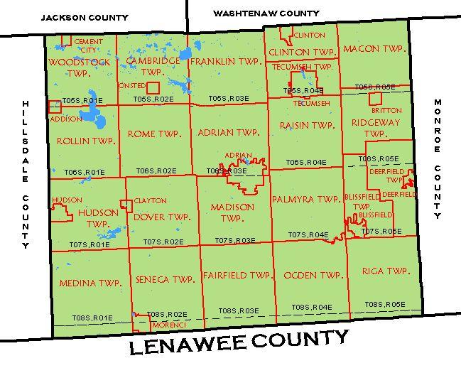 Addison Michigan Map.Cf Map Lenawee County